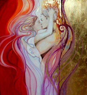 Para w pełnej bliskości, ilustracja wierszy miłosnych